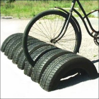 Recycled Auto Tire Bike Rack Detail